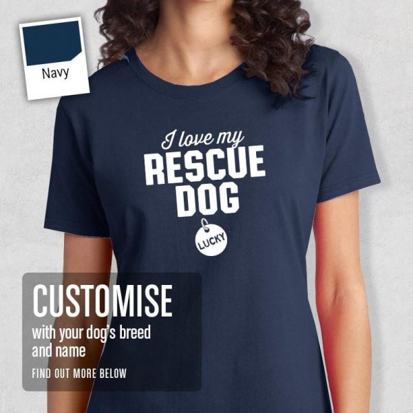 Rescue Dog tag t-shirt blue