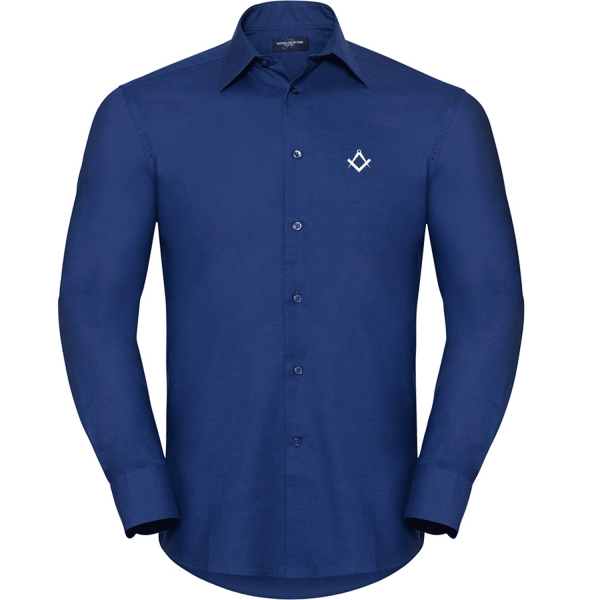 Masonic smart casual shirt bright royal blue front